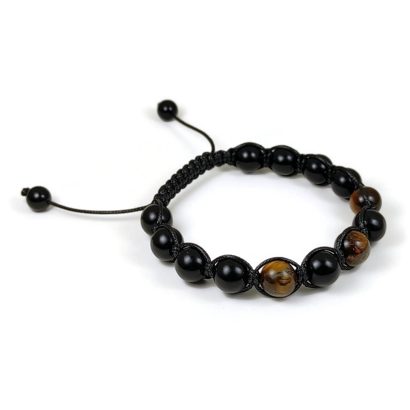 Ephesus Collection Tiger Eye - Onyx Shamballa Bracelet