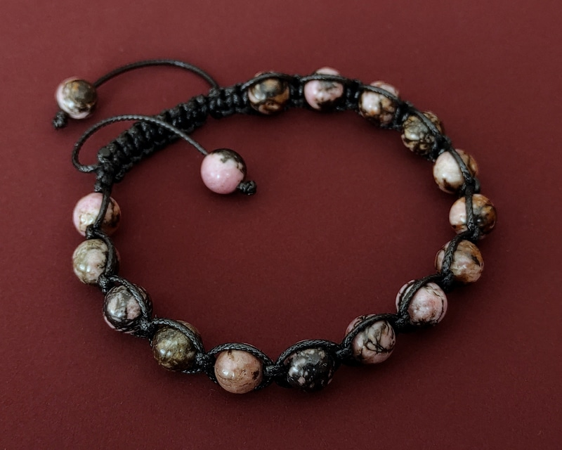 Zeugma Collection Rhodonite Shamballa Bracelet